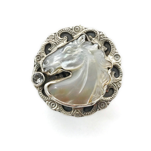 Mother of Pearl Horse Head Filligre Ring