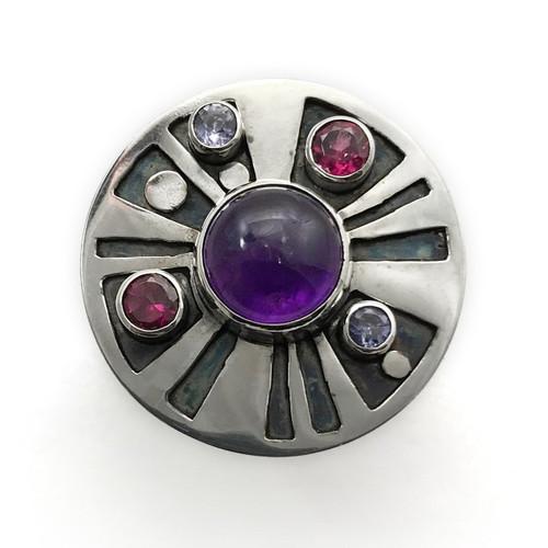 Sterling Silver Amethyst Medicine Wheel Ring …
