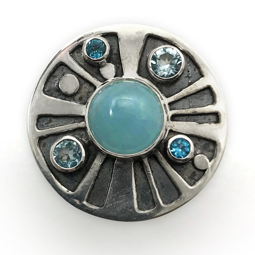 Sterling Silver Chalcedony Medicine Wheel Ring …