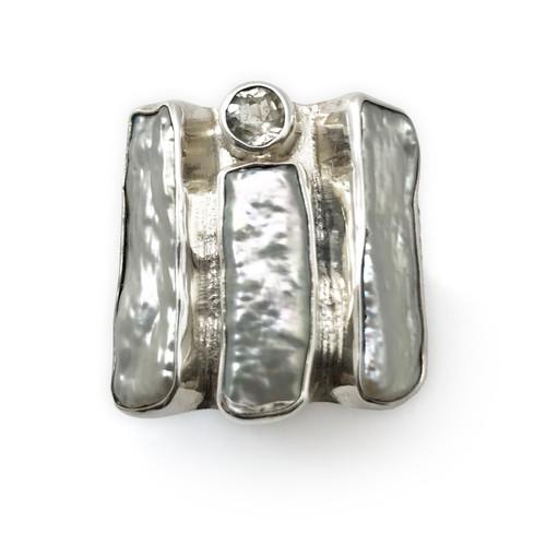 Triple Bar Pearl White Topaz Ring