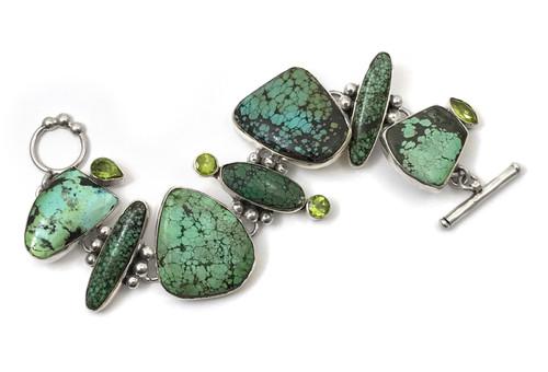 Cool Green Turquoise Peridot Bracelet
