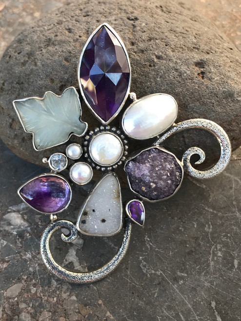 Amethyst Gemstone Pin/Pendant