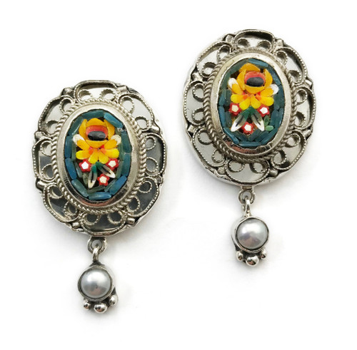 Floral Micro Mosaic Earrings