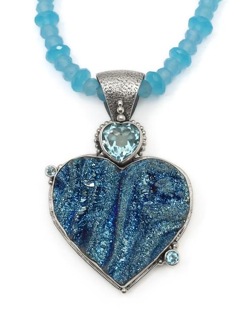 Blue Druzy Heart Necklace