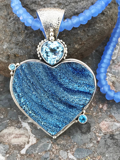 Blue Druzy Heart Necklace