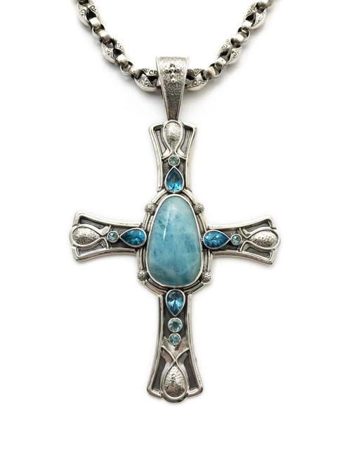 Aquamarine Cross Necklace
