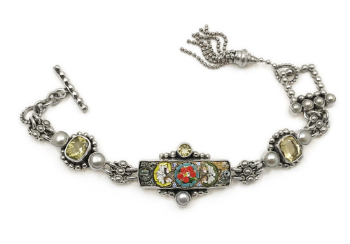 Micro Mosaic Tassel Bracelet