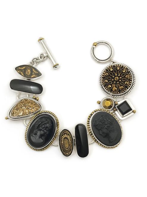 Black Cameo Gold Druzy Bracelet