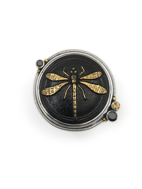 Black & Gold Dragonfly Ring