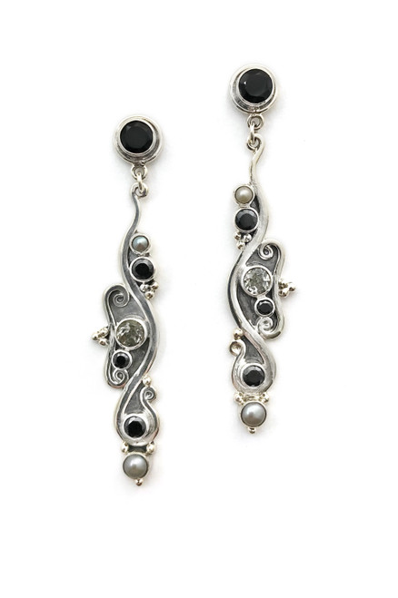 Bewitching Black and White Earrings