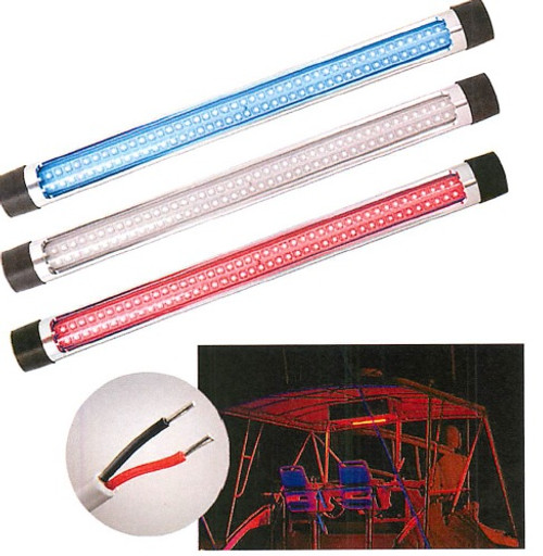 """Round Silver T-Top Light 50cm (23"""") White/Red/Blue LED"""