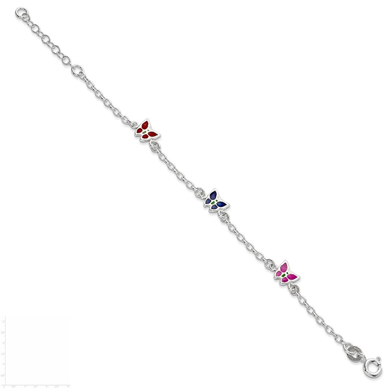 Bracelet Sterling Silver Childrens Enameled Butterfly W//1.5in Ext
