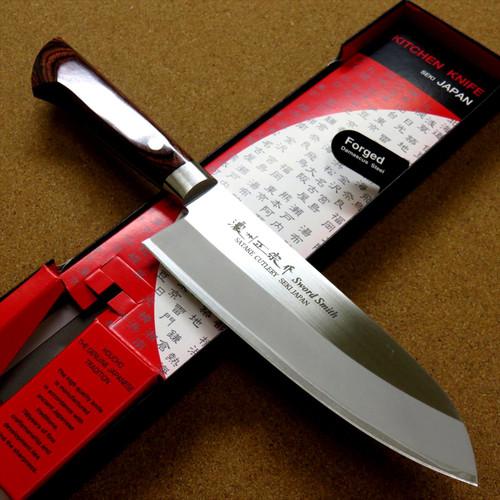 Japanese Masamune Kitchen Santoku Knife 170mm 7 in Bokashi 3 Layers SEKI JAPAN