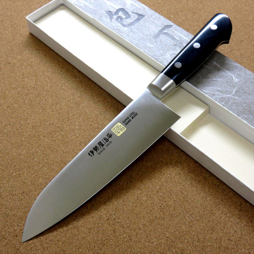 Japanese SETO-F ISEYA JIHEI Kitchen Santoku Knife 180mm 7 in Bolster SEKI JAPAN