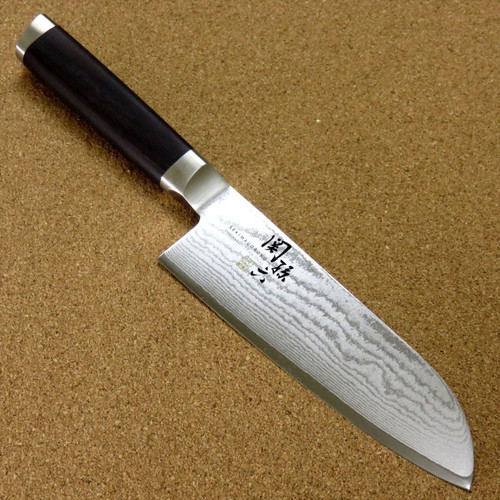 "Japanese KAI SEKI MAGOROKU Kitchen Santoku Knife 145mm 5.7"" VG-10 Damascus JAPAN"