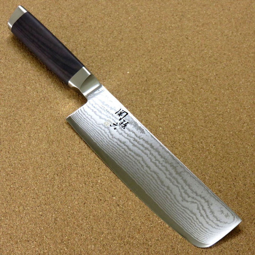 "Japanese KAI SEKI MAGOROKU Kitchen Nakiri Knife 165mm 6.5"" VG-10 Damascus JAPAN"