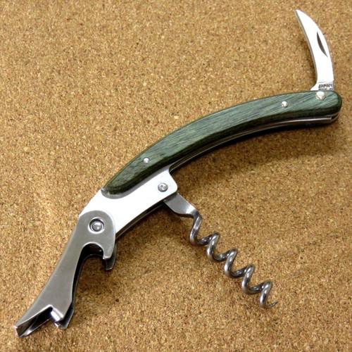 Japanese Sommelier Knife Corkscrew Wine Bottle Opener Green Plywood SEKI JAPAN