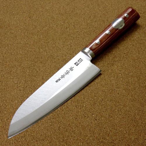 "Japanese Kanetsune Kitchen Santoku Knife 6.5"" Carbon steel 3 Layers SEKI JAPAN"