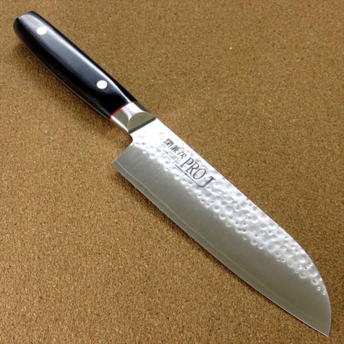 "Japanese PRO-J Kitchen Santoku Knife 170mm 6.7"" Hammer Forged SEKI JAPAN Nippon"