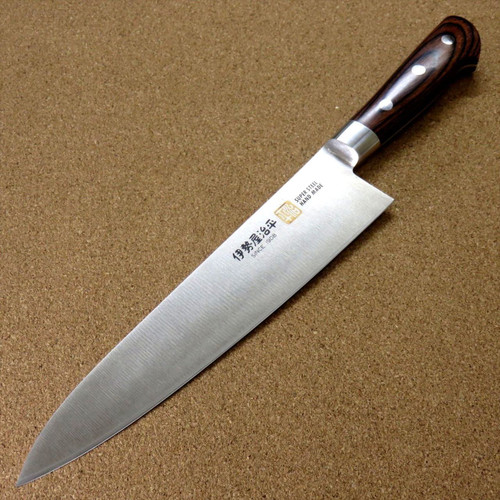 "Japanese SETO ISEYA-B Kitchen Gyuto Chef Knife 8.3"" Mahogany Bolster SEKI JAPAN"