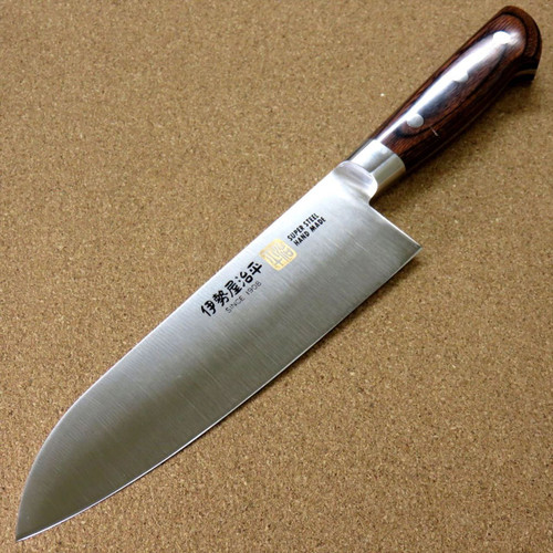 Japanese SETO ISEYA-B Kitchen Santoku Knife 7.1 inch Mahogany Bolster SEKI JAPAN