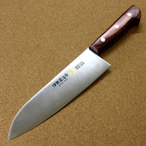 Japanese SETO ISEYA-E Kitchen Santoku Knife 7.1 inch Mahogany Handle SEKI JAPAN