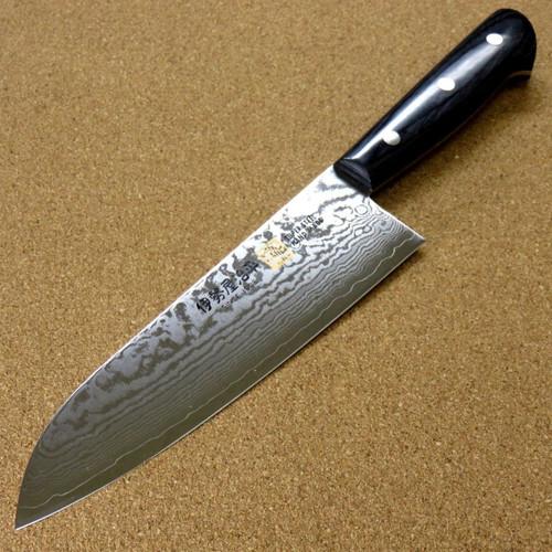 "Japanese SETO ISEYA-G Kitchen Santoku Knife 180mm 7.1"" VG-10 Damascus SEKI JAPAN"