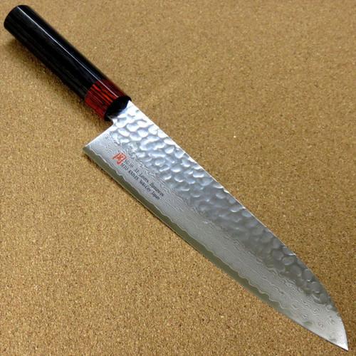 """Japanese SETO ISEYA-I Kitchen Gyuto Chef Knife 8.3"""" Damascus Hammered SEKI JAPAN"""