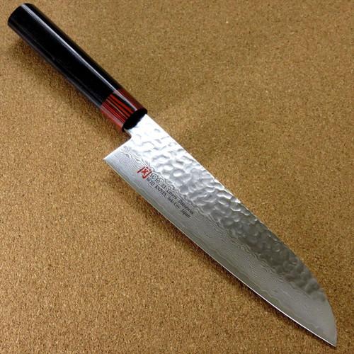 """Japanese SETO ISEYA-I Kitchen Santoku Knife 7.1"""" Damascus Hammered SEKI JAPAN"""