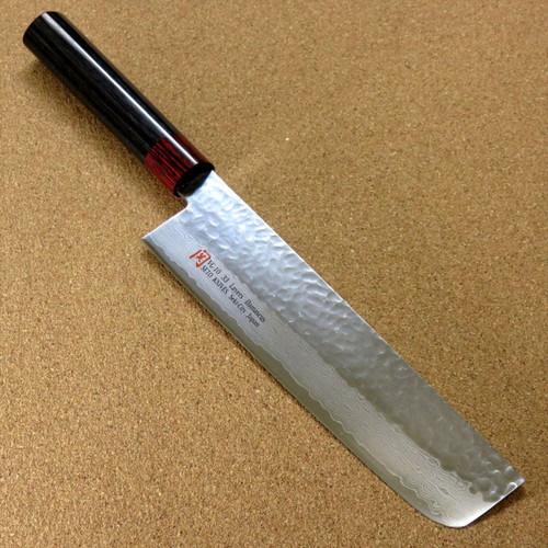 """Japanese SETO ISEYA-I Kitchen Vegetable Knife 7.1"""" Damascus Hammered SEKI JAPAN"""