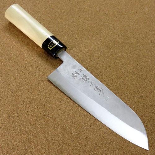 Japanese Kitchen Santoku Knife 165mm 6.5 inch Nashiji White Steel #2 SEKI JAPAN