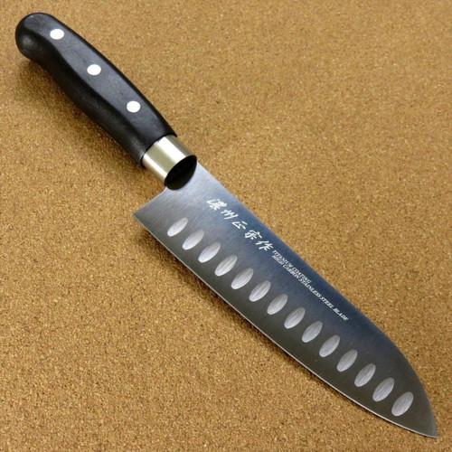 "Japanese Masamune Kitchen Dimple Santoku Knife 6.7"" Titanium Coating SEKI JAPAN"