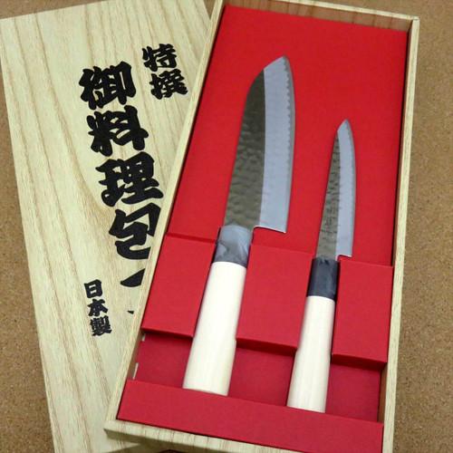 Japanese Yaxell SEKI TOBEI Kitchen Knife 2 pair Gift sets Santoku & Paring JAPAN
