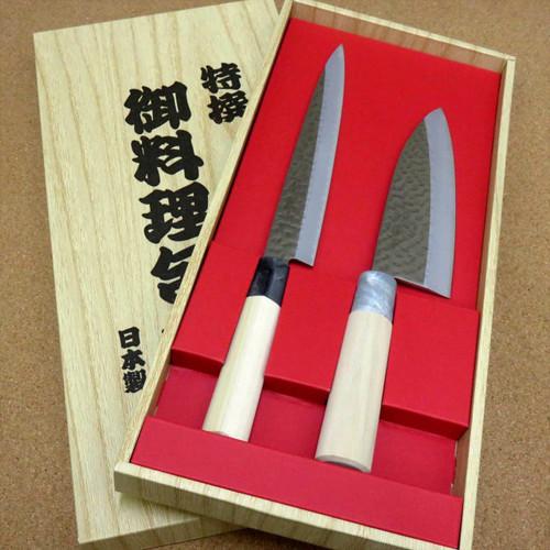Japanese Yaxell SEKI TOBEI Kitchen Knife 2 pair Gift sets Sashimi & Deba JAPAN