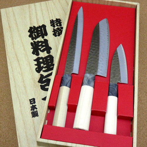 Japanese Yaxell SEKI TOBEI Kitchen Knife 3 pair sets Sashimi Santoku Fish JAPAN