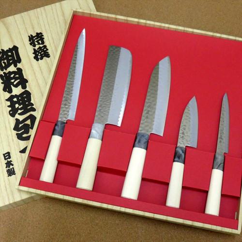 Japanese Yaxell SEKI TOBEI Knife 5 sets Sashimi Nakiri Santoku Fish Paring JAPAN