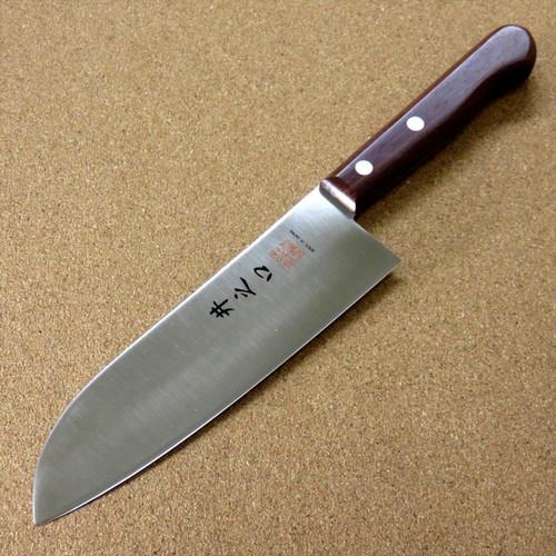 "Japanese Kitchen Santoku Knife 165mm 6.5"" Natural Rose Wood Handle SEKI JAPAN"