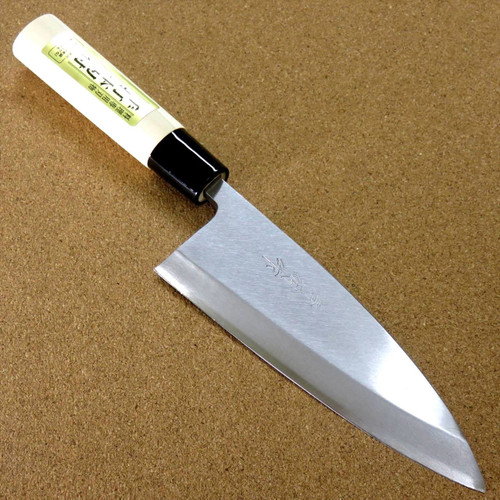 "Japanese Kiyotsuna Kitchen Deba Knife 165mm 6.5"" Single edged Right handed JAPAN"