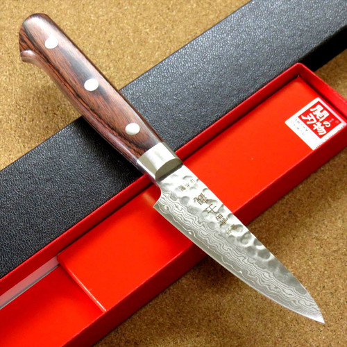 "Japanese FUJIMI Kitchen Paring Knife 3"" Hammer Forged VG-10 Damascus From JAPAN"