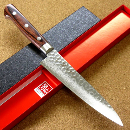 """Japanese FUJIMI Kitchen Utility Knife 5.5"""" Hammer Forged VG-10 Damascus From JAPAN"""