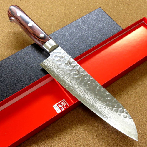 "Japanese FUJIMI Kitchen Santoku Knife 7"" Hammer Forged VG-10 Damascus From JAPAN"