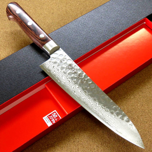 "Japanese FUJIMI Kitchen Chef Knife 7"" Hammer Forged VG-10 Damascus From JAPAN"