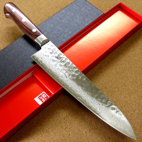 "Japanese FUJIMI Kitchen Chef Knife 8"" Hammer Forged VG-10 Damascus From JAPAN"