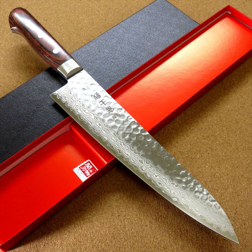 "Japanese FUJIMI Kitchen Chef Knife 9"" Hammer Forged VG-10 Damascus From JAPAN"