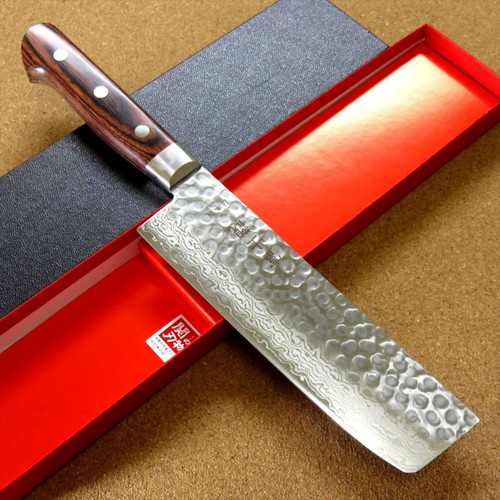 "Japanese FUJIMI Kitchen Nakiri Knife 6"" Hammer Forged VG-10 Damascus From JAPAN"