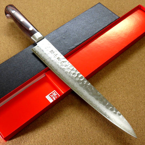 "Japanese FUJIMI Kitchen Slicing Knife 9"" Hammer Forged VG-10 Damascus From JAPAN"