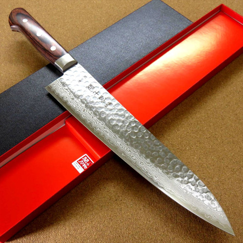 "Japanese FUJIMI Kitchen Chef Knife 10.6"" Hammer Forged VG-10 Damascus From JAPAN"