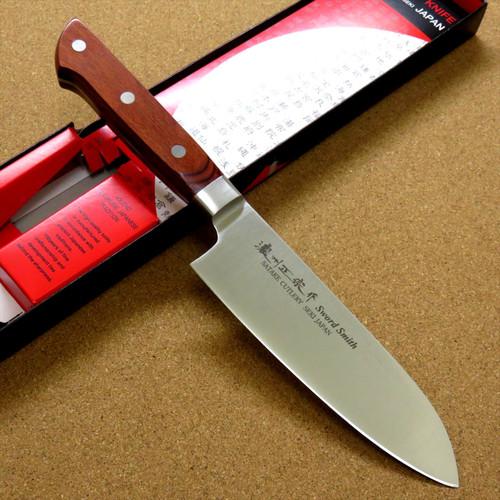"""Japanese Masamune Kitchen Small Santoku Knife 150mm 6"""" Brown Plywood SEKI JAPAN"""
