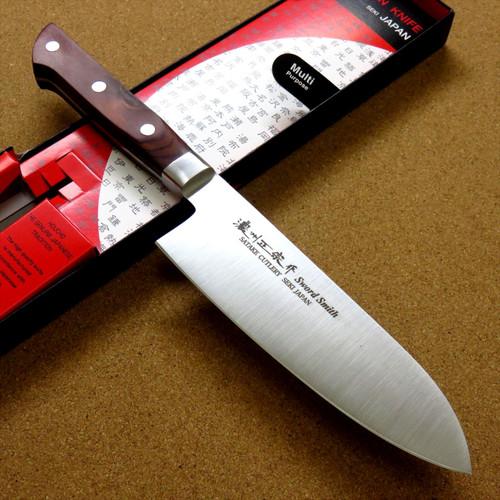 Japanese Masamune Kitchen Santoku Knife 165mm 6 inch Brown Plywood SEKI JAPAN
