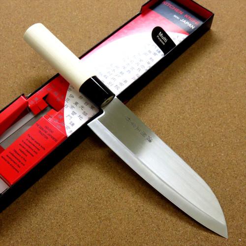 "Japanese Masamune Kitchen Santoku Knife 170mm 7"" Natural Wood Handle SEKI JAPAN"